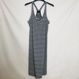 GAP black and grey striped racer back maxi dress L